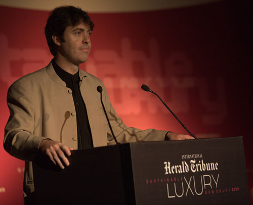 Jem Bendell leading a group meditation based on teachings of the late Indian Jesuit, Anthony de Mello, at the International Herald Tribune confrerence on sustainable luxury, in Delhi, March 2009. Photo credit: Sanjit Das for the International Herald Tribune